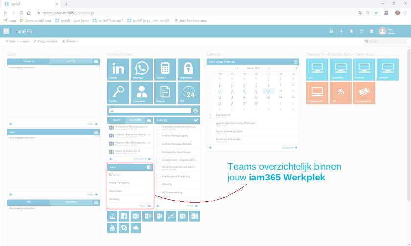 Direct toegang tot Teams in iam365 Workspace